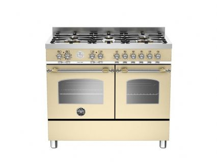 100cm Bertazzoni Heritage 6 burners and 2 electric ovens in Matt Cream HER100-6-MFE-D-CRT